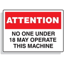 Seton 90327 Baler Safety Labels - Attention No One Under 18 May Operate This Machine