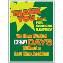 Seton 91076 Motivational Safety Scoreboards - Thank You For Working Safely