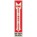 Seton 91170 Fire Extinguisher Do Not Block - Glow-In-The-Dark Fire Exit Sign