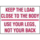 Seton 91776 Keep The Load Close To The Body Injury Prevention Signs