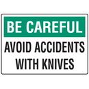 Seton 91821 Be Careful Avoid Accidents Knife Safety Signs