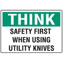 Seton 91823 Think Safety First Knife Safety Signs