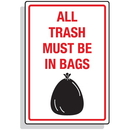 Seton 92311 Dumpster Signs- All Trash Must Be In Bags (Graphic)