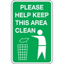 Seton 92419 Trash Signs- Please Help Keep This Area Clean (With Graphic)