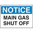 Seton 92613 Chemical & HazMat Signs - Main Gas Shut Off