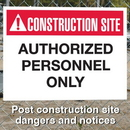 Seton 94149 Construction Site Safety Signs - Authorized Personnel Only