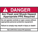 Seton 94306 NEC Arc Flash Protection Labels - Danger Arc Flash And Shock Hazard Appropriate PPE Required