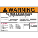 Seton 94322 Self Laminating Arc Flash Labels- WARNING Arc Flash and Shock Hazard Appropriate PPE Required