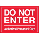 Seton 96370 Interior Decor Security Signs - Do Not Enter Authorized Personnel Only
