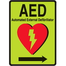 Seton 97042 1-Way View Luminous AED Sign - Automated External Defibrillator