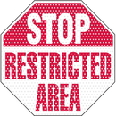 Seton See Thru Security Labels - Stop Restricted Area - 97944