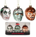 Accoutrements ACC-12931-C Set Of 3 Monster Blown Glass Christmas Ornaments