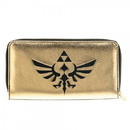 Bioworld Legend of Zelda Legend Hyrule Crest Logo Black and Gold Zip Around Clutch Wallet