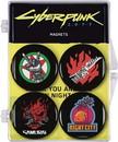 Cyberpunk 2077 Logos Magnet 4 Pack, Silverhand, Samurai, Night City