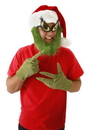 Elope Dr. Seuss The Grinch Costume Santa Hat With Beard One Size