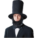Franco Abraham Lincoln Men's Costume Hat with Beard - Black