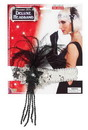 Forum Novelties Silver Sequin Adult Costume Flapper Headband With Black Feathers One Size