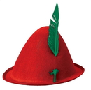 Forum Novelties FRM-75778-C Red Alpine Hat with Green Feather