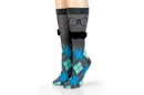 Hypnotic Socks HYP-HYX21564-C Charcoal Argyle with 3D Mustache Design Men's Novelty Crew Socks - 1 Pair