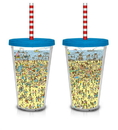 Just Funky Where's Waldo Beach Scene 16 oz. Plastic Cup with Straw