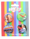 Mister Rogers Carded Button Pin 4 Pack