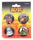 AC/DC Carded Button Pin 4 Pack