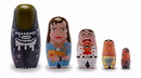 Promotional Partners Worldwide PPW-8898-C Alien 5-Piece Wood Nesting Dolls Set