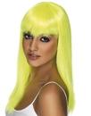 Smiffys Long Neon Yellow Glamourama Adult Costume Wig