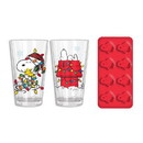 Peanuts Holiday Snoopy 16oz Pint Glasses with Ice Tray Set
