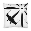 Se7en20 Star Wars White Tie Fighter 25 x 25 Inch Black Square Outdoor Pillow