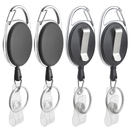 GOGO 4 Packs Retractable Keychain Badge Holder with Carabiner Reel Belt Clip and Key Ring