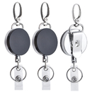 GOGO Heavy Duty Metal Retractable Keychain Badge Holder with Strong Key Ring & Belt Clip, Pack of 3