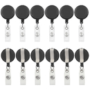 GOGO 12 Packs Retractable ID Badge Holder Reel with Belt Clip ( Transparent / Solid Color )