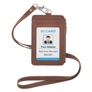 GOGO PU Leather Credit Card ID Badge Holder with Side Zipper Pocket and Detachable Neck Lanyard