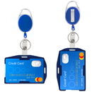 GOGO 2 Packs Retractable Carabiner Keychain Reel Clip with Plastic 2 Sided ID Badge Holder (4 pcs)