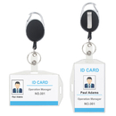 GOGO 2 Packs Clear Enclosed PC Hard Plastic Badge Holder with Carabiner Retractable Badge Reel (4 pcs)
