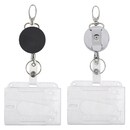 GOGO 2 Packs Heavy Duty Badge Holder Retractable Reel with Plastic ID Credit Card Holder (4 pcs)