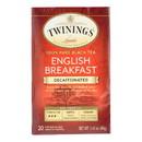 Twining's Tea Breakfast Tea - English, Decaffeinated - Case of 6 - 20 bags