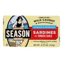 Season Brand Sardines - Skinless and Boneless - in Tomato Sauce - Salt Added - 4.375 oz - case of 12