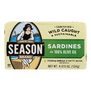 Season Brand Sardines in Pure Olive Oil - Salt Added - Case of 12 - 4.375 oz.