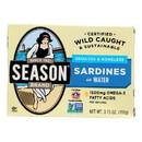 Season Brand Sardines - Skinless and Boneless - in Water - Salt Added - 3.75 oz - case of 12
