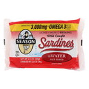 Season Brand Sardines - Brisling - Lightly Smoked - in Water - 3.75 oz - case of 12