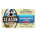 Season Brand Skinless and Boneless Sardines in Water - No Salt Added - Case of 12 - 4.25 oz.