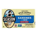 Season Brand Sardines in Water - No Salt Added - Case of 12 - 4.375 oz.