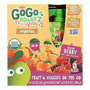 Gogo Squeez Bolder Berry Organic Fruit & Veggiez On The Go - Case of 12 - 4/3.2 oz