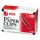 ACCO BRANDS ACC72320 Smooth Standard Paper Clip, #3, Silver, 100/box, 10 Boxes/pack