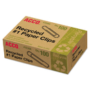 ACCO BRANDS ACC72365 Recycled Paper Clips, Smooth, #1, 100/box, 10 Boxes/pack