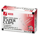 ACCO BRANDS ACC72385 Nonskid Standard Paper Clips, #1, Silver, 100/box, 10 Boxes/pack