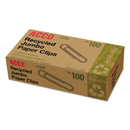 ACCO BRANDS ACC72525 Recycled Paper Clips, Smooth, Jumbo, 100/box, 10 Boxes/pack
