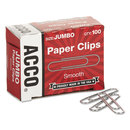 ACCO BRANDS ACC72580 Smooth Standard Paper Clip, Jumbo, Silver, 100/box, 10 Boxes/pack